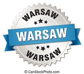 Warsaw round silver badge with blue ribbon