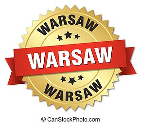 Warsaw round golden badge with red ribbon