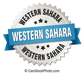 Western Sahara round silver badge with blue ribbon