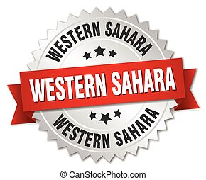 Western Sahara round silver badge with red ribbon