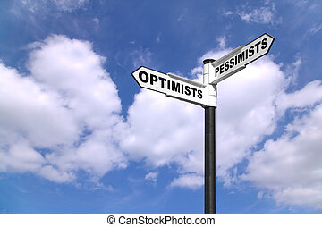 Optimists and Pessimists signpost - Concept image of a...