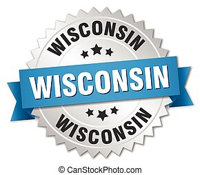 Wisconsin round silver badge with blue ribbon