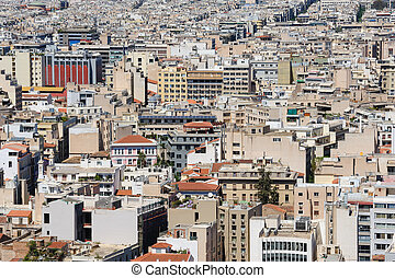 Cityscape of modern Athens, Greece made at morning from...