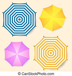 Beach umbrellas set, top view. Isolated vector illustration .