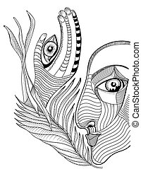 Abstract surreal face and hand with mehndi tattoo. Hand drawing vector template can use for posters cards, stickers, illustrations, t-shirt art, as decorative element.