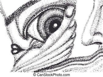 abstratos, surreal, mão, desenho, vetorial, modelo,...