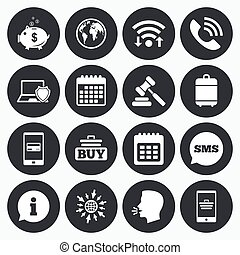Online shopping, e-commerce and business icons. - Wifi,...