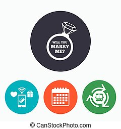 Marry me ring sign icon. Engagement symbol. - Will you marry...