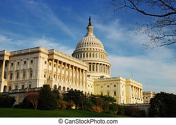 Capitol Hill Building in detail, Washington DC - Capitol...