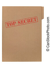 Top Secret file - A manila folder with the faded words Top...