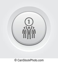 Winner Icon Business Concept Grey Button Design