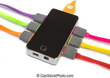 hub with connected color wires - hub with set of the...
