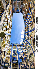 Facades of buildings in Hackescher Markt in Berlin, Germany...
