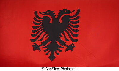 Textile flag of Albania moving in the wind