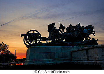 Civil War Memorial statue silhouette, Washington DC.