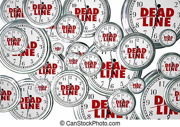 Deadline Due Dates Clocks Flying Urgent Words 3d...