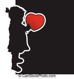 child with red heart silhouette illustration