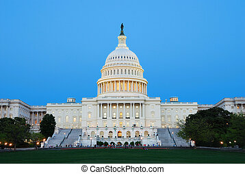 US capitol, Washington DC - Capitol Hill Building at dusk...