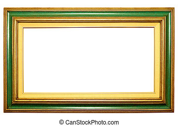 Green picture frame - Green and gold picture frame with...