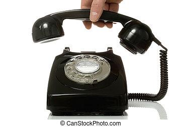 電話, の上, 一突き