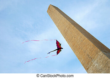 Kite and George Washington Monument, Washington DC - Kite...
