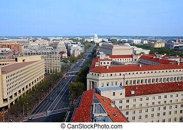 Washington DC skyline with government buildings and capitol...