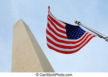 National flag and George Washington Monument - National flag...