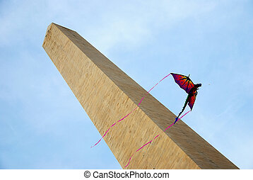 Kite and George Washington Monument. - Kite and George...
