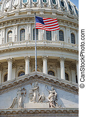 Flag with US Capitol Building, Washington DC