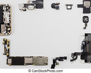 Top view of smart phone components isolate on white...