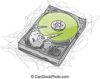 Hard drive, sketch for your design. Vector illustration