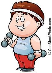 Fat man - Vector illustration of Cartoon Fat man holding...