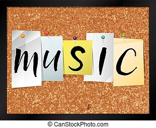 Music Bulletin Board Theme Illustration - An illustration of...