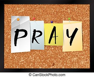 Pray Bulletin Board Theme Illustration - An illustration of...