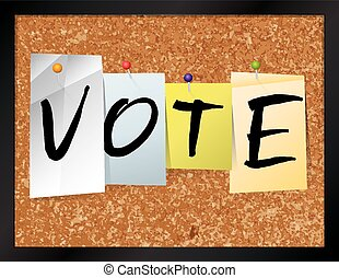 Vote Bulletin Board Theme Illustration - An illustration of...