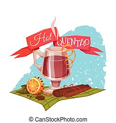 Red ribbon with hot quentao for Brazil june party Vector...