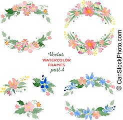 Floral watercolor wreaths, frames, bouquets. Great for...