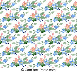 Vector illustration - Seamless pattern with watercolor...