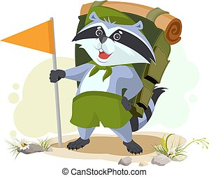 Scout raccoon with backpack