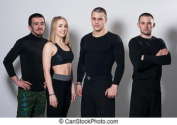 Group of active young people