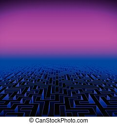 Retro gaming hipster neon landscape with labyrinth - Retro...