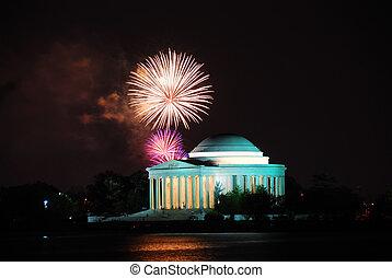 Thomas Jefferson Memorial with firework show. Washington DC