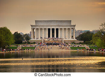 Lincoln Memorial, Washington DC - Lincoln Memorial at sunset...