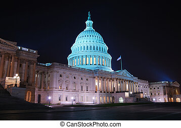 Capitol Hill, Washington DC - Capitol hill building at night...
