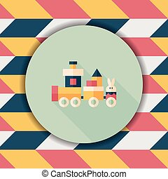 Train toy flat icon with long shadow, eps10