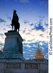 General grant statue and US capitol, Washington DC.