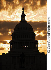 Capitol Hill Building dome silhouette, Washington DC -...