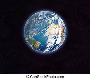 Earth from space. 3D rendering. Elements of this image...