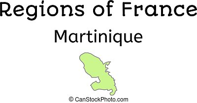 France administrative map of Martinique region on white