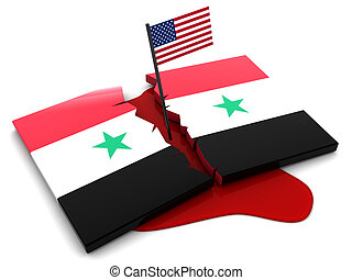 Syrian conflict - 3d illustration of broken syrian flag and...